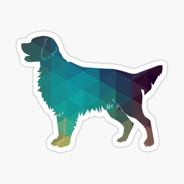 Golden Retriever and Flat-Coated Retriever Geometric Pattern Silhouette - Green Sticker