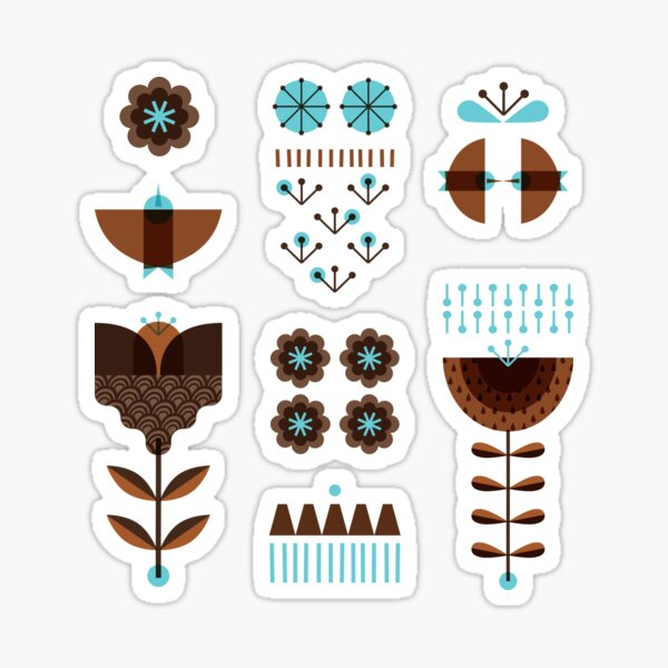Scandinavian modern folk Sticker