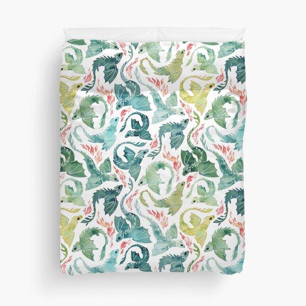 Dragon fire turquoise & green Duvet Cover