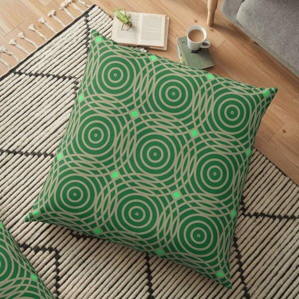 Modern Geometric Circles Green Beige Pattern Design 1842 Floor Pillow