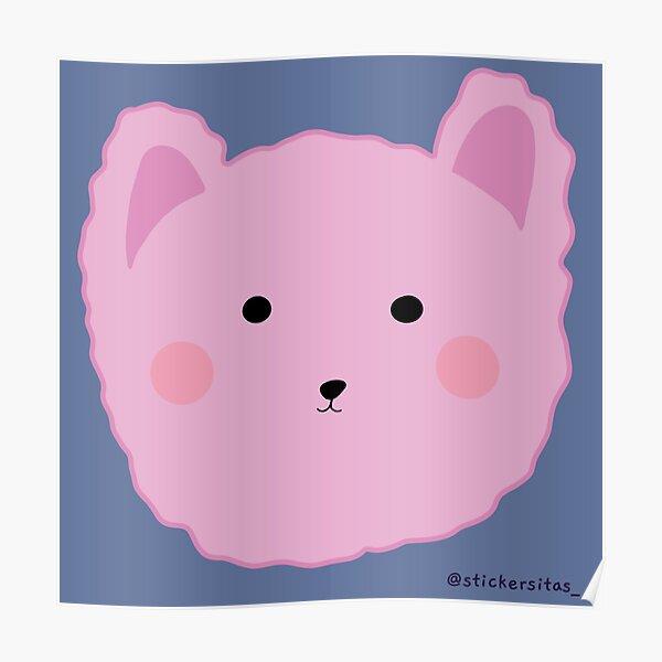 Pink bear sticker Poster