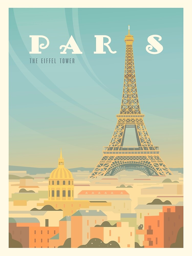 Paris Vintage Travel Poster Mid Century Commercial Art by Ejaaz