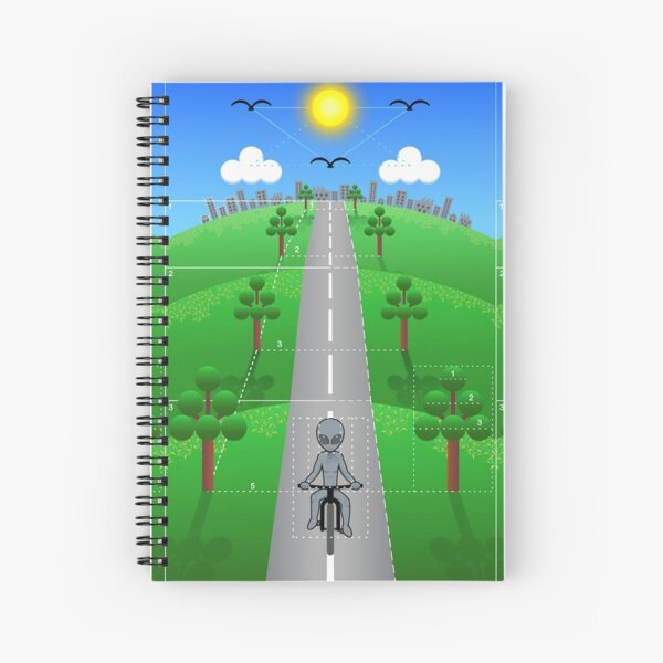 Cute Bicycle Alien Drawing Spiral Notebook