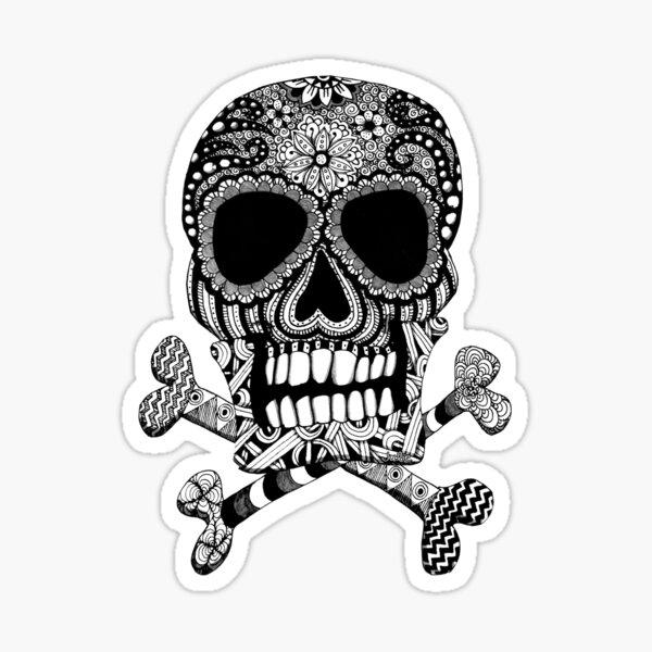 Skull and Crossbones Doodle Art Sticker