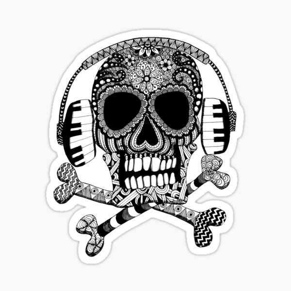 Skull and Crossbones with Headphones Sticker