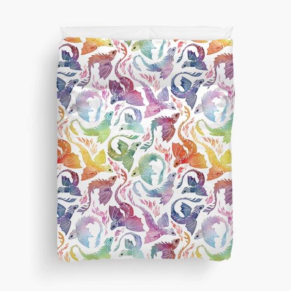 Dragon fire rainbow Duvet Cover