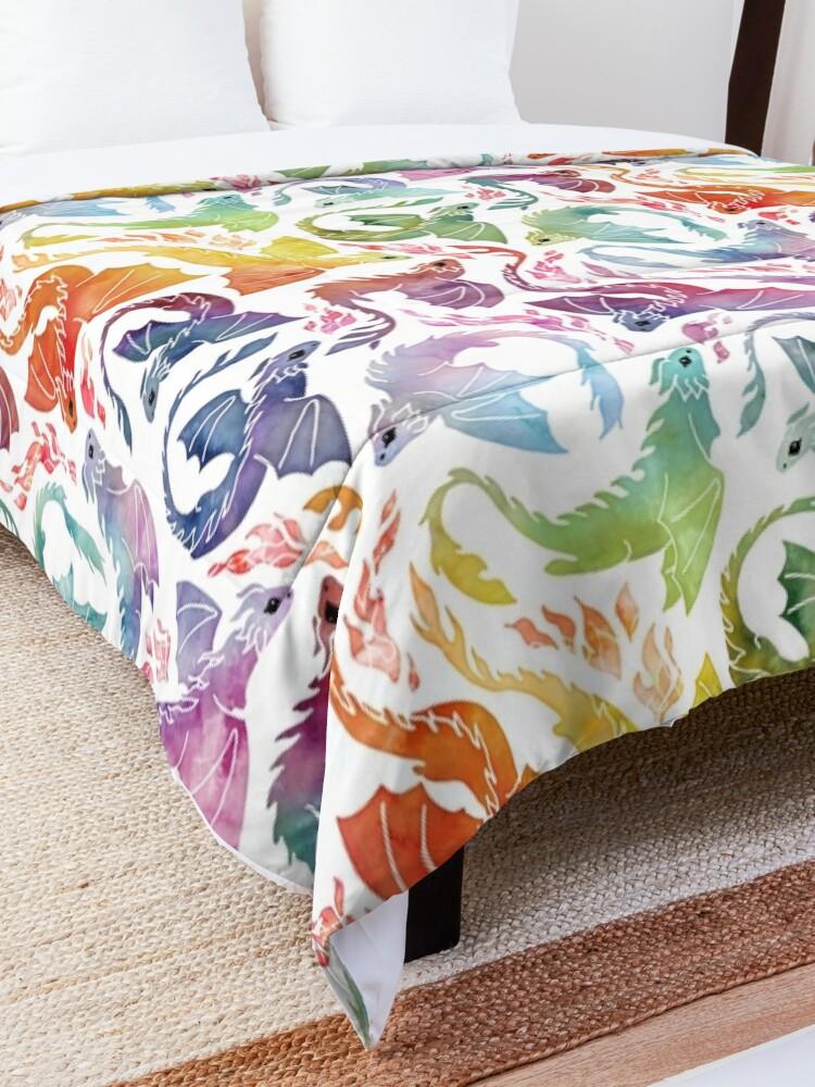 Alternate view of Dragon fire rainbow Comforter