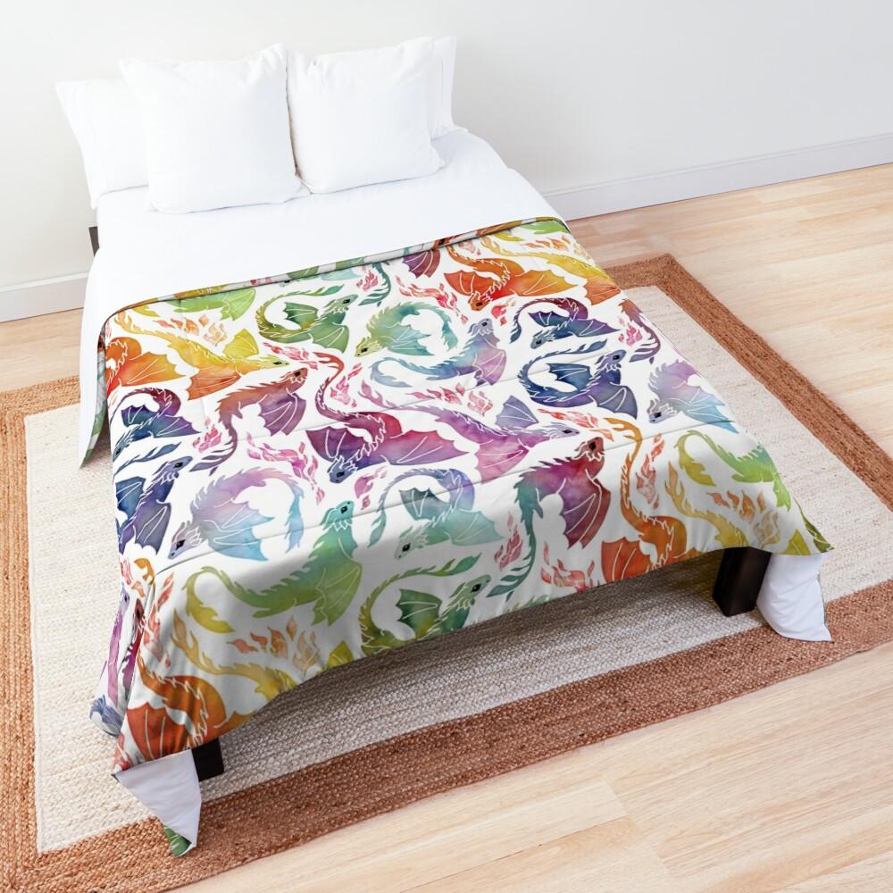 Dragon fire rainbow Comforter