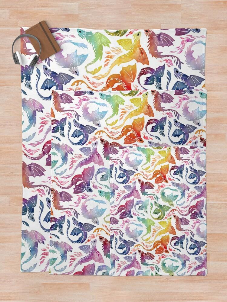 Alternate view of Dragon fire rainbow Throw Blanket