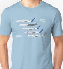 Airbus A350 Test Aircraft Fleet Illustration - Blue Version Unisex T-Shirt