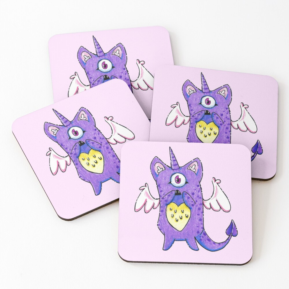 The Cutest Purple Monster Coasters (Set of 4)