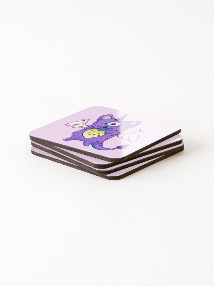 Alternate view of The Cutest Purple Monster Coasters (Set of 4)