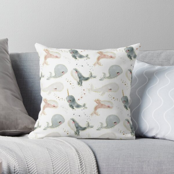 Whales and Norwahls Throw Pillow