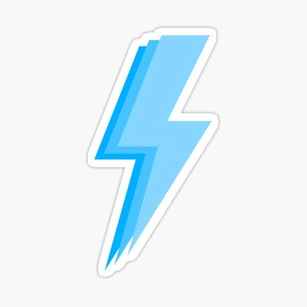 Layered trendy hot neon teal blue and light neon teal blue lightning bolt Sticker