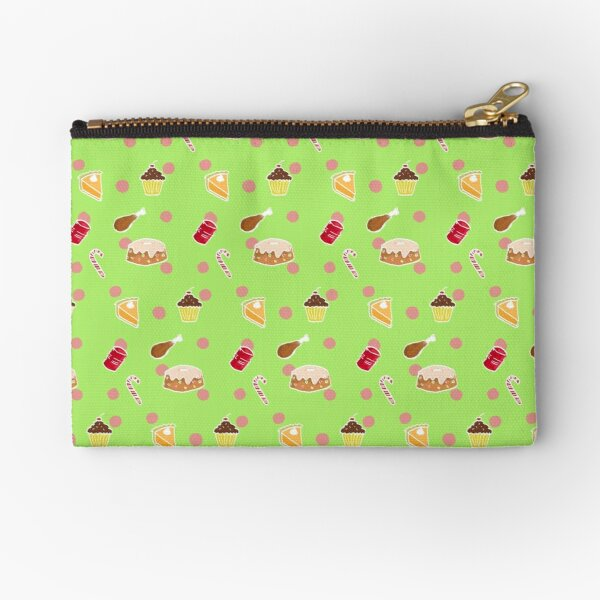 Holiday Feast on Green Zipper Pouch