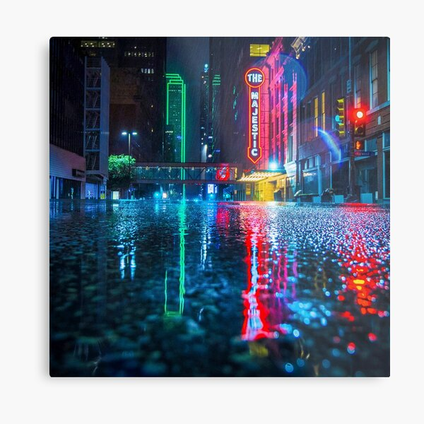Downtown Dallas in the Rain Metal Print