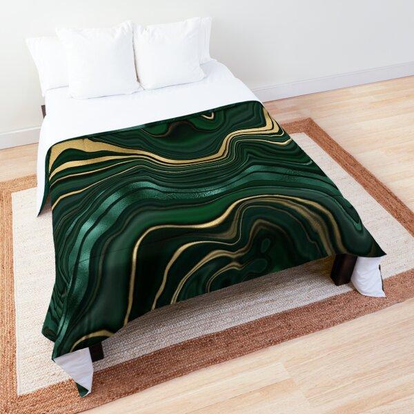 Emerald Green and Gold  Malachite Pattern Comforter