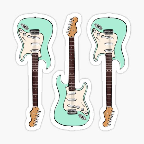 Triple Surf Green Stratocaster Sticker