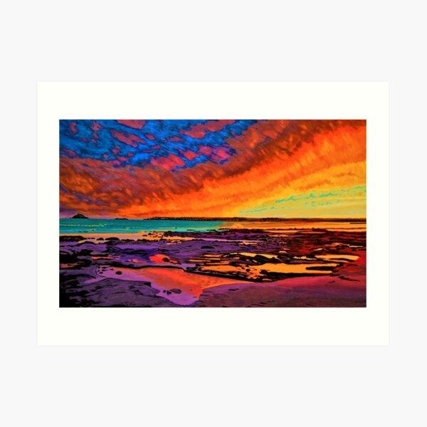 Fiery Sunset Over Garryvoe Beach Art Print