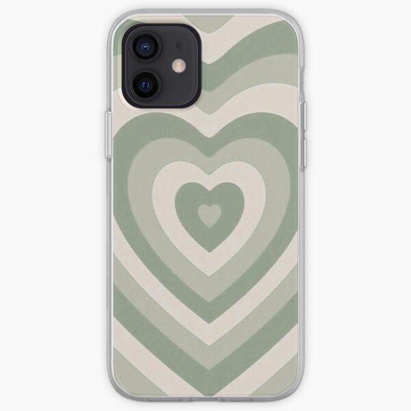 sage green latte heart iPhone Soft Case