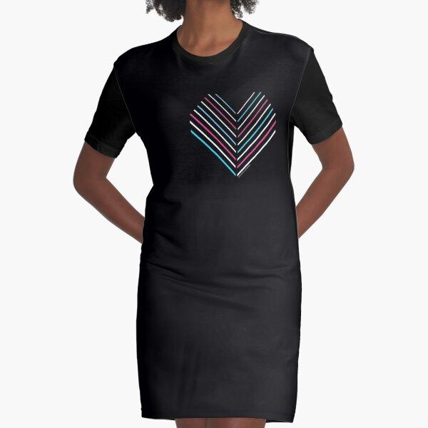 Neon Trans Heart Graphic T-Shirt Dress