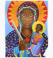 Black Madonna Poland artwork Polish Madonna print Virgin Mary painting Our Lady Religious painting Poster