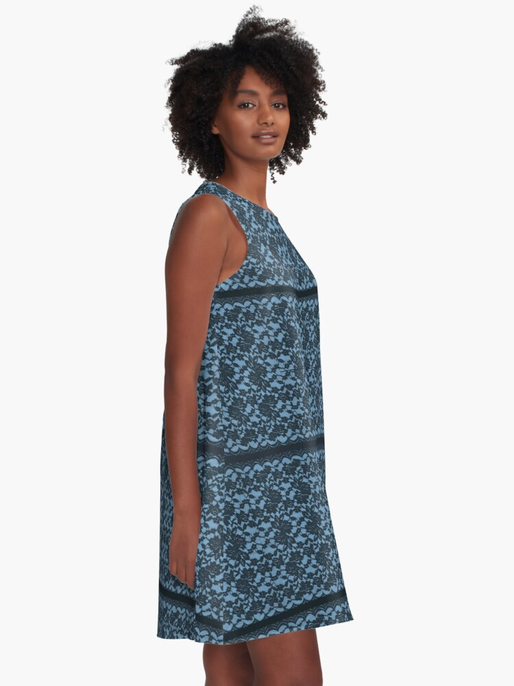 Alternate view of Beautiful Blue Spanish Lace print with blue strips A-Line Dress