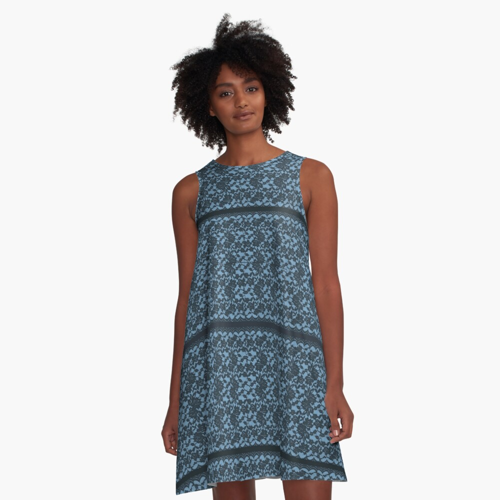 Beautiful Blue Spanish Lace print with blue strips A-Line Dress