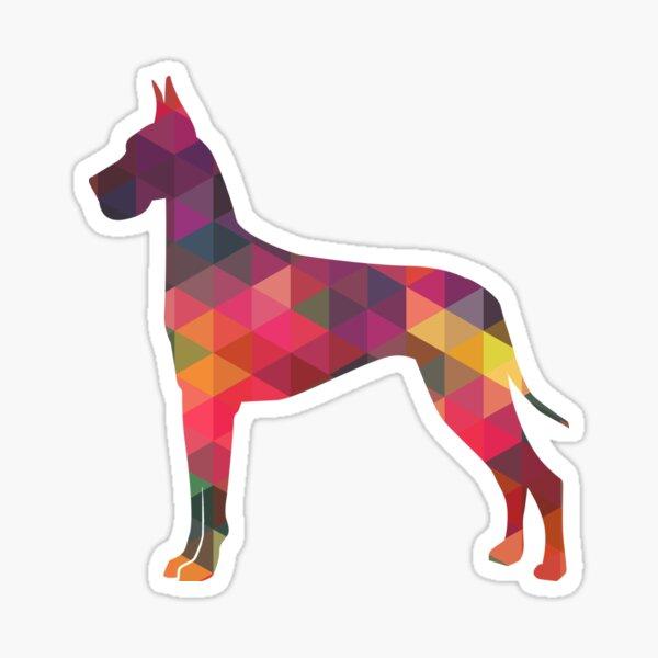 Great Dane Colorful Geometric Pattern Silhouette Multi Sticker