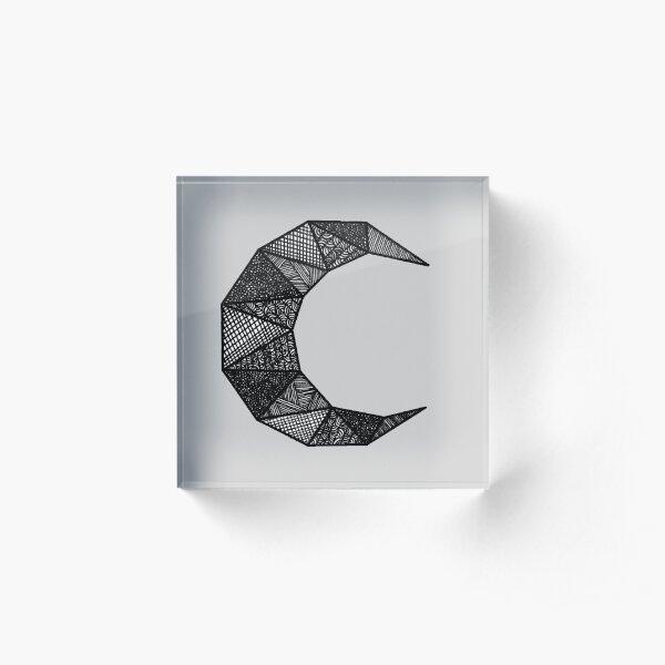 Geometric Crescent Moon  Acrylic Block