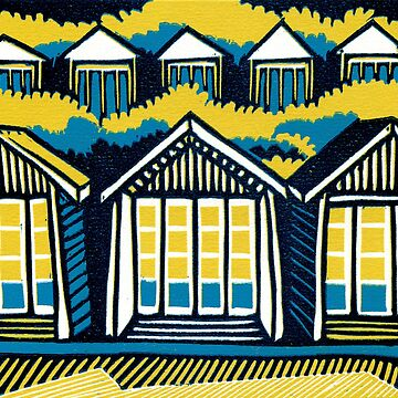 Beach Huts, Bournemouth -  Teal and Mustard - Original Linocut by Francesca Whetnall by Cecca-Designs