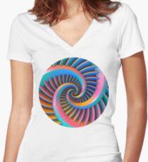 Opposing Spiral Pattern in 3-D Women's Fitted V-Neck T-Shirt