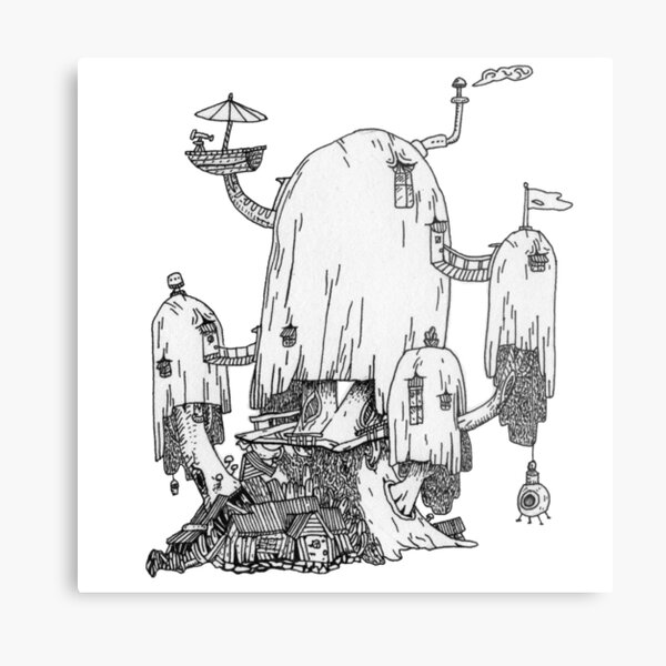Adventure Time Treehouse - Hand-drawn Metal Print