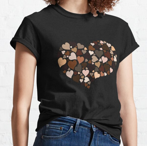 Diversity Hearts in Skin Tones and Melanin Colors, Love Everyone in Humanity with Inclusion and Kindness Classic T-Shirt