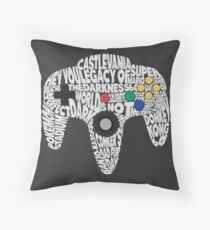 N64 Controller - Typography  Throw Pillow