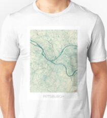 Pittsburgh Map Blue Vintage Unisex T-Shirt