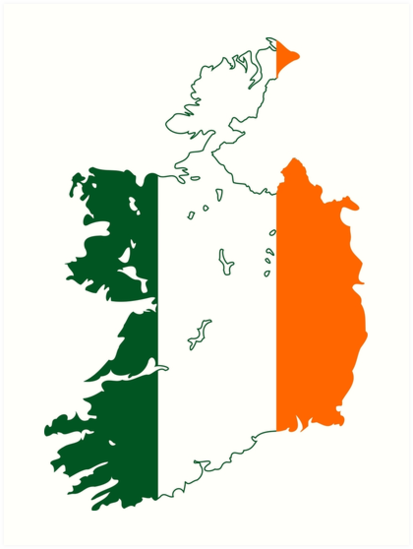 Map Of Ireland Print.Flag Map Of Ireland Art Prints By Abbeyz71 Redbubble