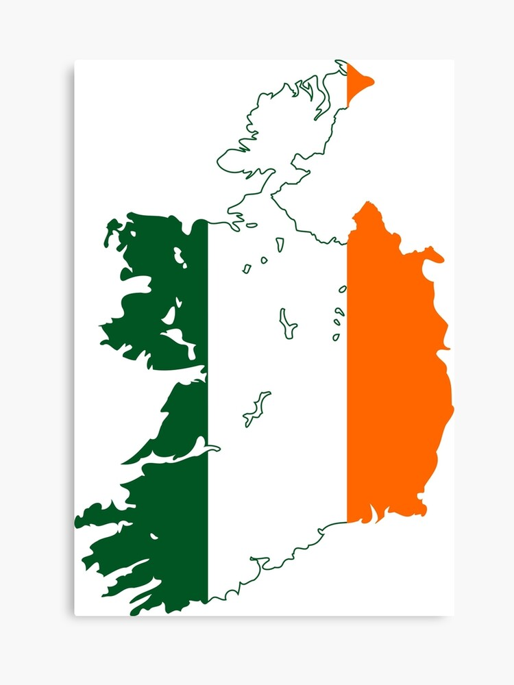 Print Map Of Ireland.Flag Map Of Ireland Canvas Print