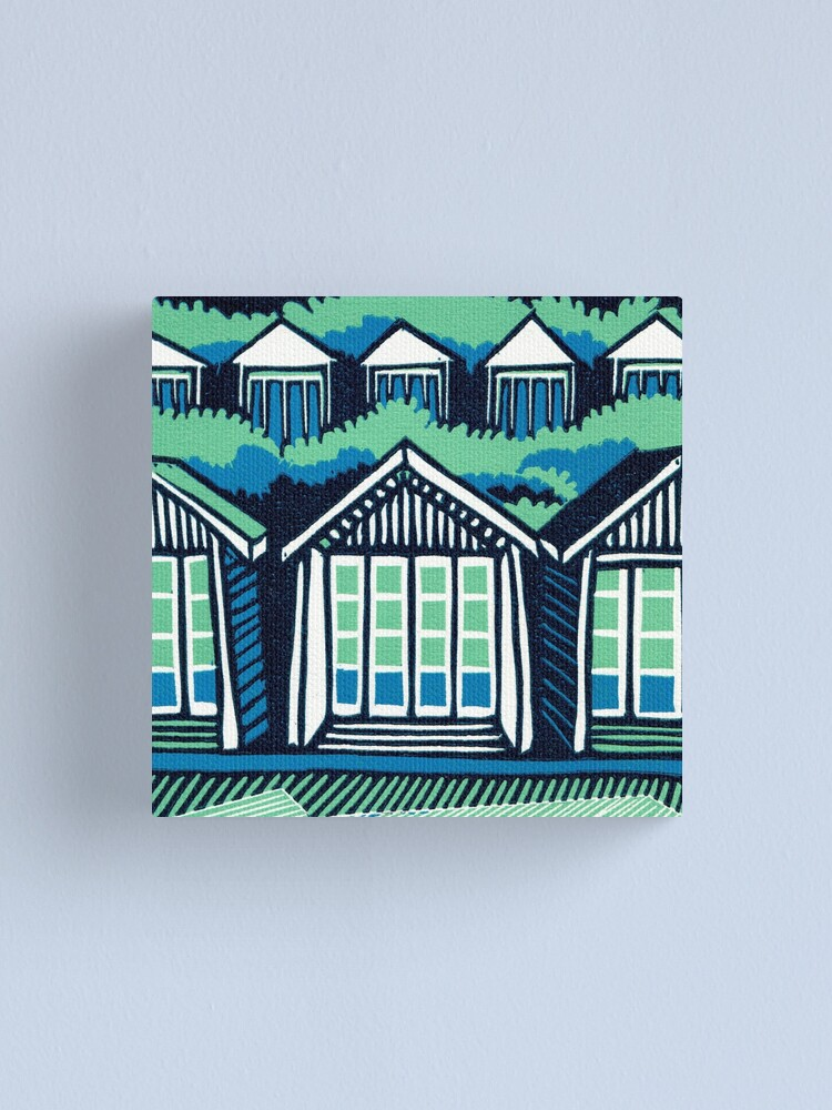 Alternate view of Beach Huts - Blue and Turquoise - Original Linocut by Francesca Whetnall Canvas Print