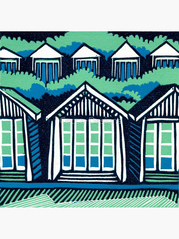 Beach Huts - Blue and Turquoise - Original Linocut by Francesca Whetnall by Cecca-Designs