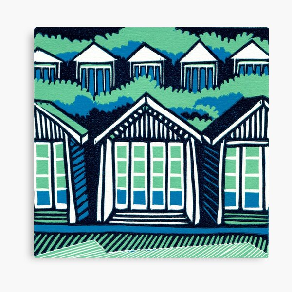 Beach Huts - Blue and Turquoise - Original Linocut by Francesca Whetnall Canvas Print