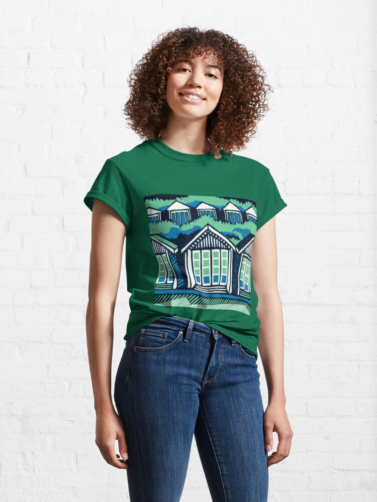 Alternate view of Beach Huts - Blue and Turquoise - Original Linocut by Francesca Whetnall Classic T-Shirt