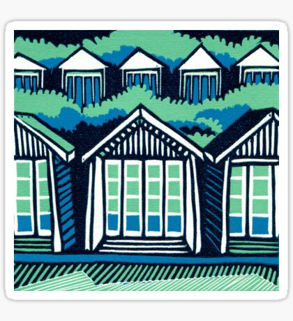 Beach Huts - Blue and Turquoise - Original Linocut by Francesca Whetnall Sticker