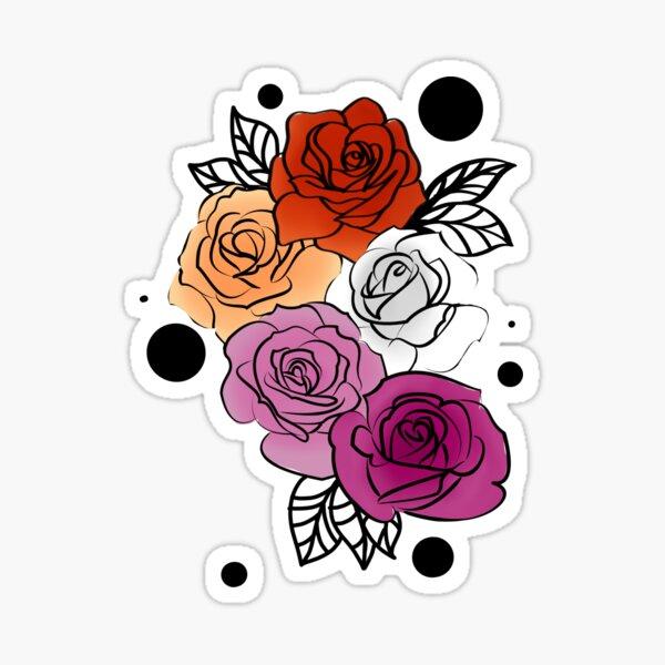 Lesbian Pride Flag Flowers Floral Aesthetic LGBT  Sticker