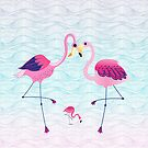 Pink Flamingos & Abstract Water Waves Illustration by artonwear