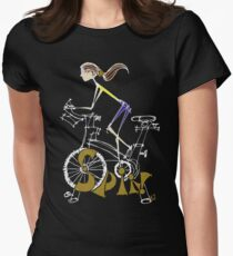 Spin, Spinning, Spin Class, Cycle - Brunette Women's Fitted T-Shirt