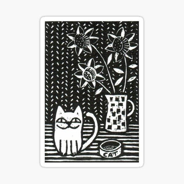 Happy Cat - Original Wood engraving by Francesca Whetnall Sticker