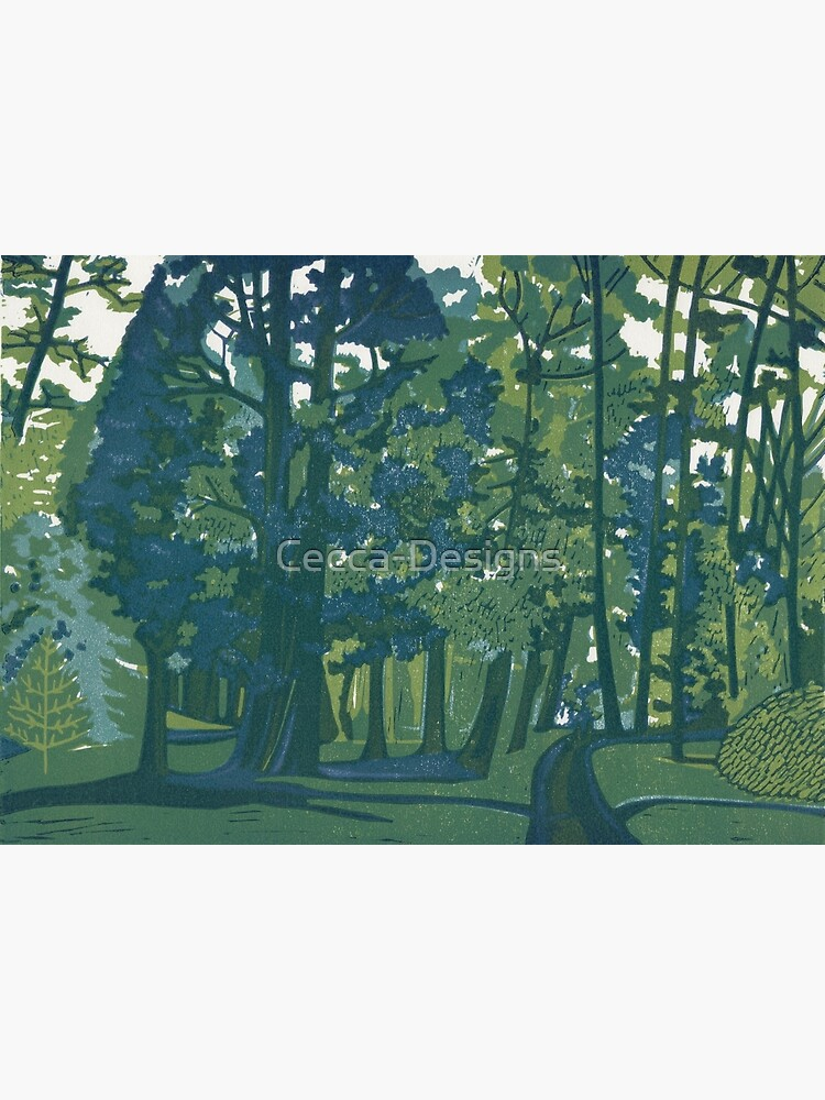 Dusk in the Gardens - Original Linocut by Francesca Whetnall by Cecca-Designs