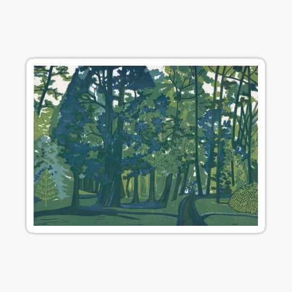 Dusk in the Gardens - Original Linocut by Francesca Whetnall Sticker