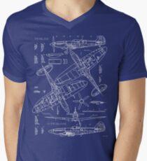Spitfire Concept Blueprints Men's V-Neck T-Shirt